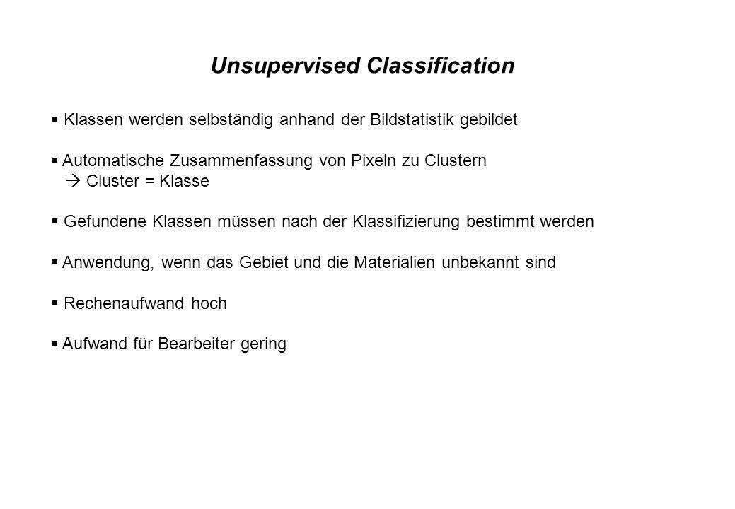 Unsupervised Classification Klassen werden selbständig anhand der Bildstatistik gebildet Automatische Zusammenfassung von Pixeln zu Clustern Cluster =