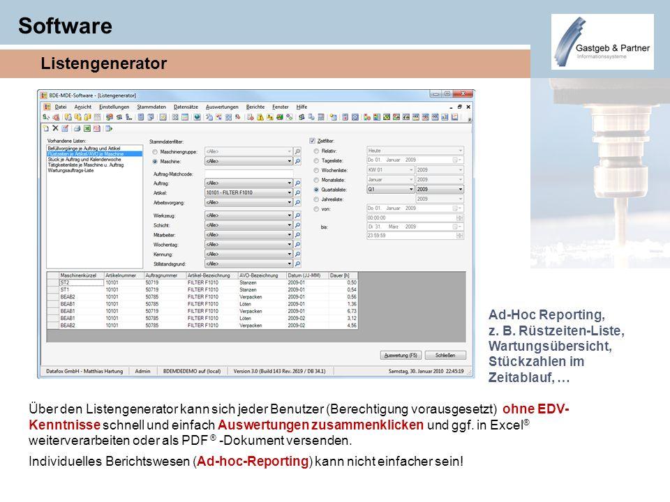 Software Listengenerator Ad-Hoc Reporting, z. B. Rüstzeiten-Liste, Wartungsübersicht, Stückzahlen im Zeitablauf, … Über den Listengenerator kann sich