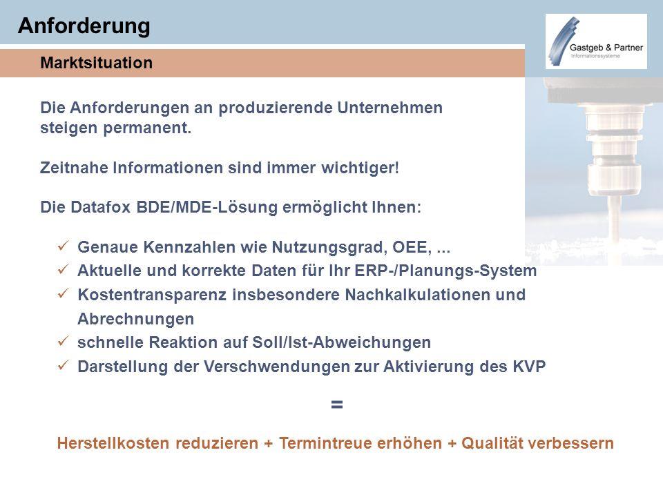 Anforderung Marktsituation Genaue Kennzahlen wie Nutzungsgrad, OEE,... Aktuelle und korrekte Daten für Ihr ERP-/Planungs-System Kostentransparenz insb