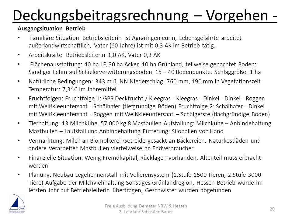Deckungsbeitragsrechnung – Vorgehen - Freie Ausbildung Demeter NRW & Hessen 2. Lehrjahr Sebastian Bauer 20 Ausgangsituation Betrieb Familiäre Situatio