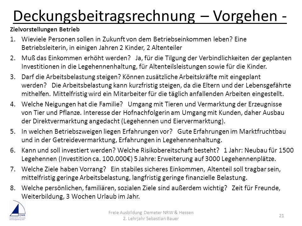 Deckungsbeitragsrechnung – Vorgehen - Freie Ausbildung Demeter NRW & Hessen 2. Lehrjahr Sebastian Bauer 21 Zielvorstellungen Betrieb 1.Wieviele Person
