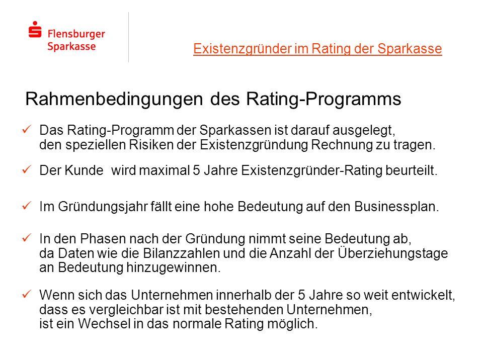 Existenzgründer im Rating der Sparkasse Das Rating-Programm der Sparkassen ist darauf ausgelegt, den speziellen Risiken der Existenzgründung Rechnung