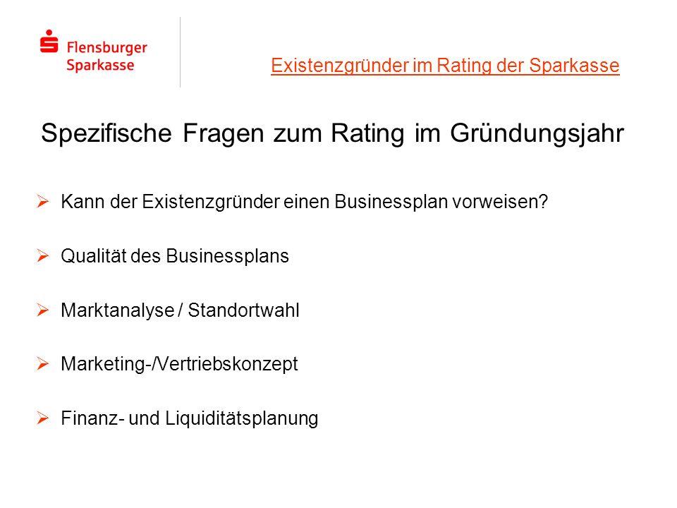 Existenzgründer im Rating der Sparkasse Kann der Existenzgründer einen Businessplan vorweisen? Qualität des Businessplans Marktanalyse / Standortwahl