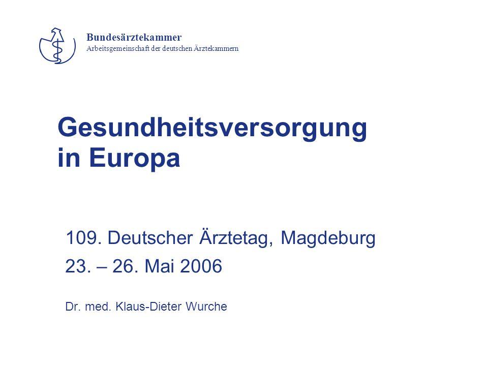 Bundesärztekammer Arbeitsgemeinschaft der deutschen Ärztekammern Gesundheitsversorgung in Europa 109. Deutscher Ärztetag, Magdeburg 23. – 26. Mai 2006