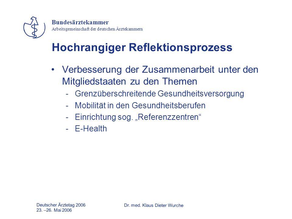 Deutscher Ärztetag 2006Dr. med. Klaus Dieter Wurche 23. –26. Mai 2006 Bundesärztekammer Arbeitsgemeinschaft der deutschen Ärztekammern Hochrangiger Re