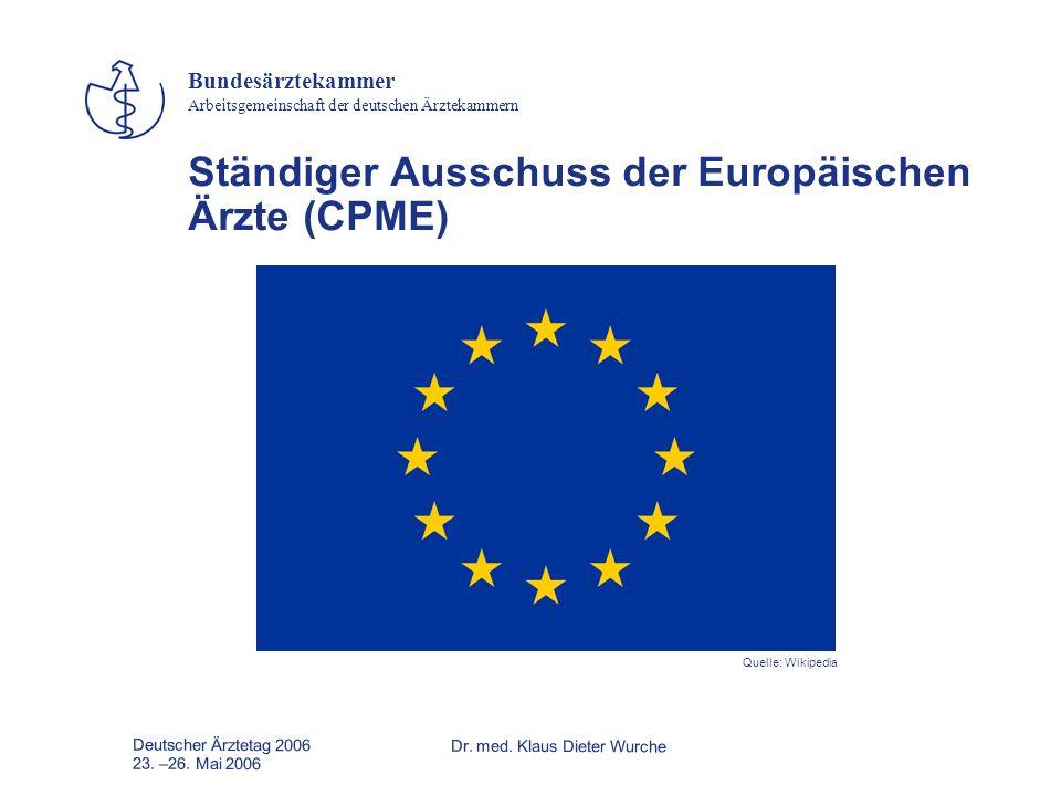 Deutscher Ärztetag 2006Dr. med. Klaus Dieter Wurche 23. –26. Mai 2006 Bundesärztekammer Arbeitsgemeinschaft der deutschen Ärztekammern Ständiger Aussc