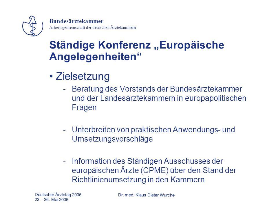 Deutscher Ärztetag 2006Dr. med. Klaus Dieter Wurche 23. –26. Mai 2006 Bundesärztekammer Arbeitsgemeinschaft der deutschen Ärztekammern Ständige Konfer