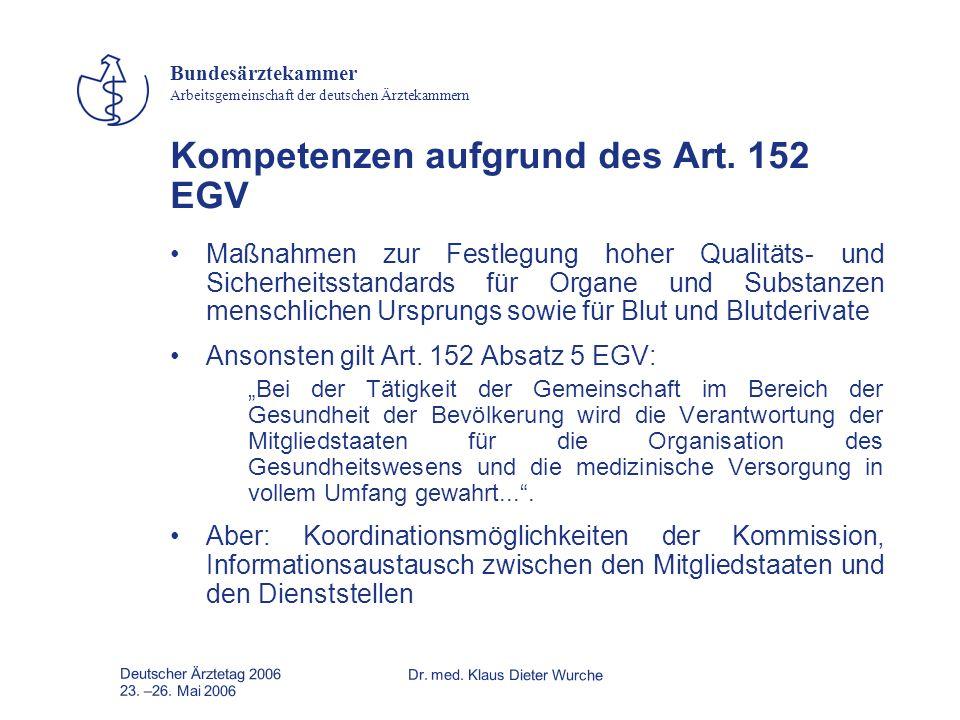 Deutscher Ärztetag 2006Dr. med. Klaus Dieter Wurche 23. –26. Mai 2006 Bundesärztekammer Arbeitsgemeinschaft der deutschen Ärztekammern Kompetenzen auf