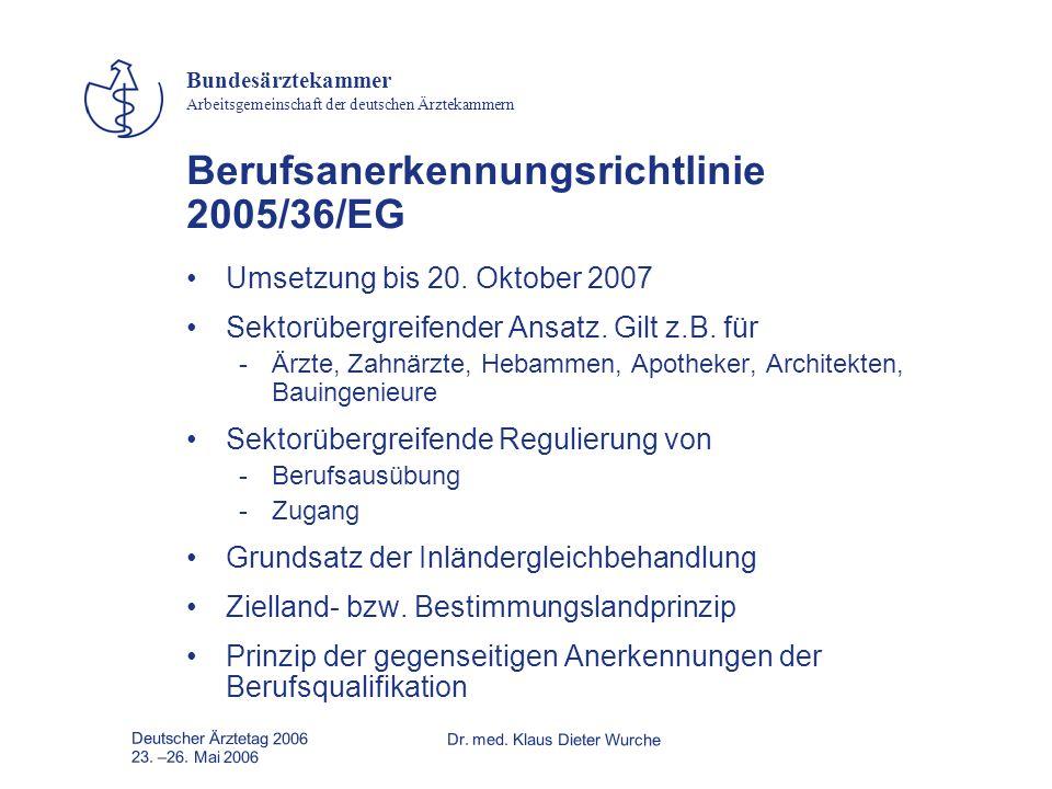Deutscher Ärztetag 2006Dr. med. Klaus Dieter Wurche 23. –26. Mai 2006 Bundesärztekammer Arbeitsgemeinschaft der deutschen Ärztekammern Berufsanerkennu