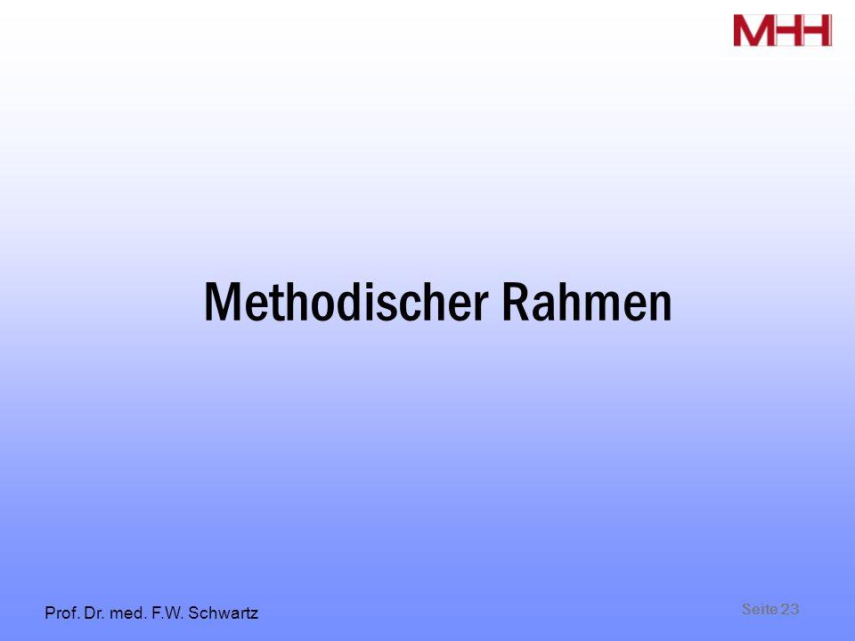 Seite 23 Prof. Dr. med. F.W. Schwartz Methodischer Rahmen
