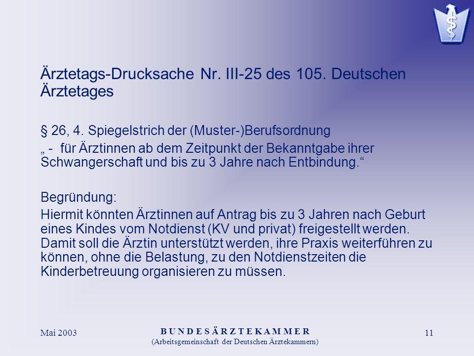 B U N D E S Ä R Z T E K A M M E R (Arbeitsgemeinschaft der Deutschen Ärztekammern) Mai 200311 Ärztetags-Drucksache Nr.