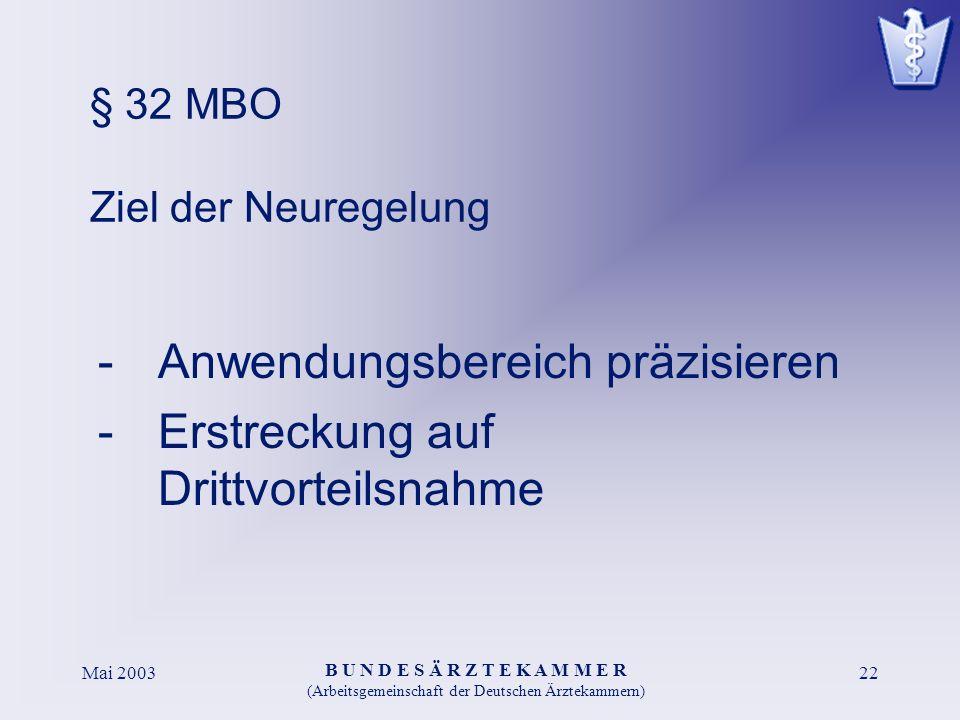 B U N D E S Ä R Z T E K A M M E R (Arbeitsgemeinschaft der Deutschen Ärztekammern) Mai 200322 § 32 MBO Ziel der Neuregelung -Anwendungsbereich präzisieren -Erstreckung auf Drittvorteilsnahme
