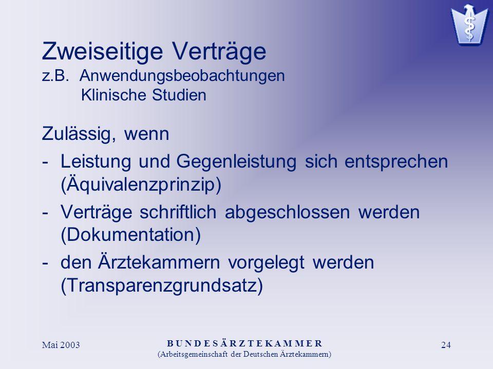 B U N D E S Ä R Z T E K A M M E R (Arbeitsgemeinschaft der Deutschen Ärztekammern) Mai 200324 Zweiseitige Verträge z.B. Anwendungsbeobachtungen Klinis