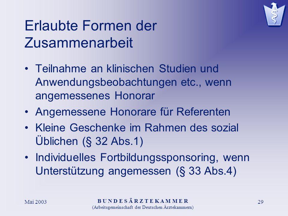 B U N D E S Ä R Z T E K A M M E R (Arbeitsgemeinschaft der Deutschen Ärztekammern) Mai 200329 Erlaubte Formen der Zusammenarbeit Teilnahme an klinisch