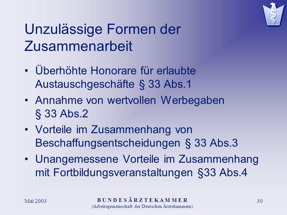 B U N D E S Ä R Z T E K A M M E R (Arbeitsgemeinschaft der Deutschen Ärztekammern) Mai 200330 Unzulässige Formen der Zusammenarbeit Überhöhte Honorare