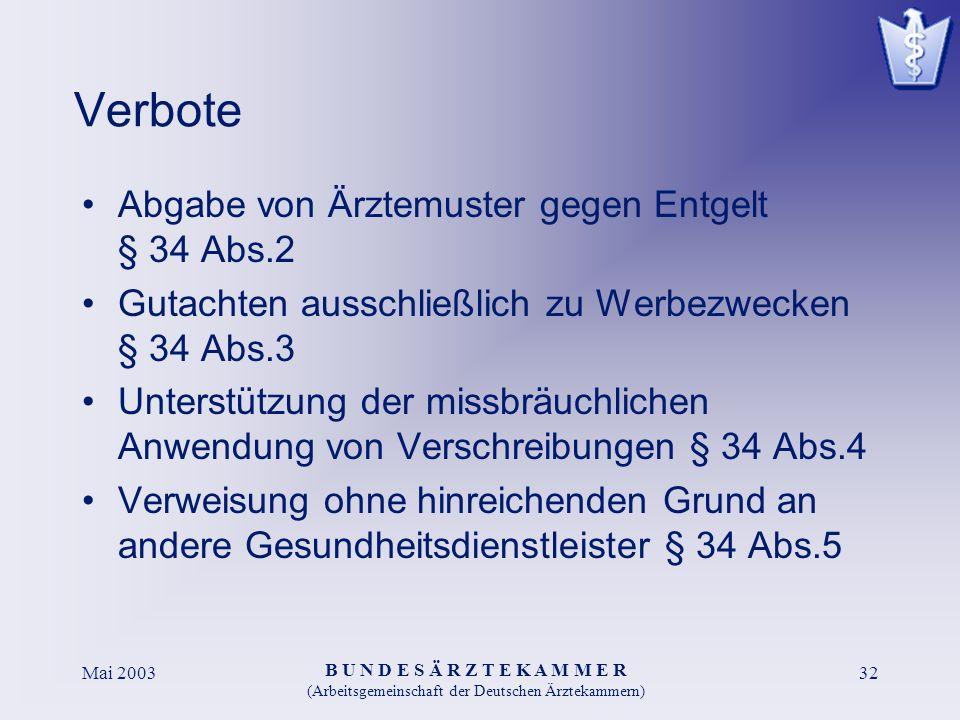 B U N D E S Ä R Z T E K A M M E R (Arbeitsgemeinschaft der Deutschen Ärztekammern) Mai 200332 Verbote Abgabe von Ärztemuster gegen Entgelt § 34 Abs.2