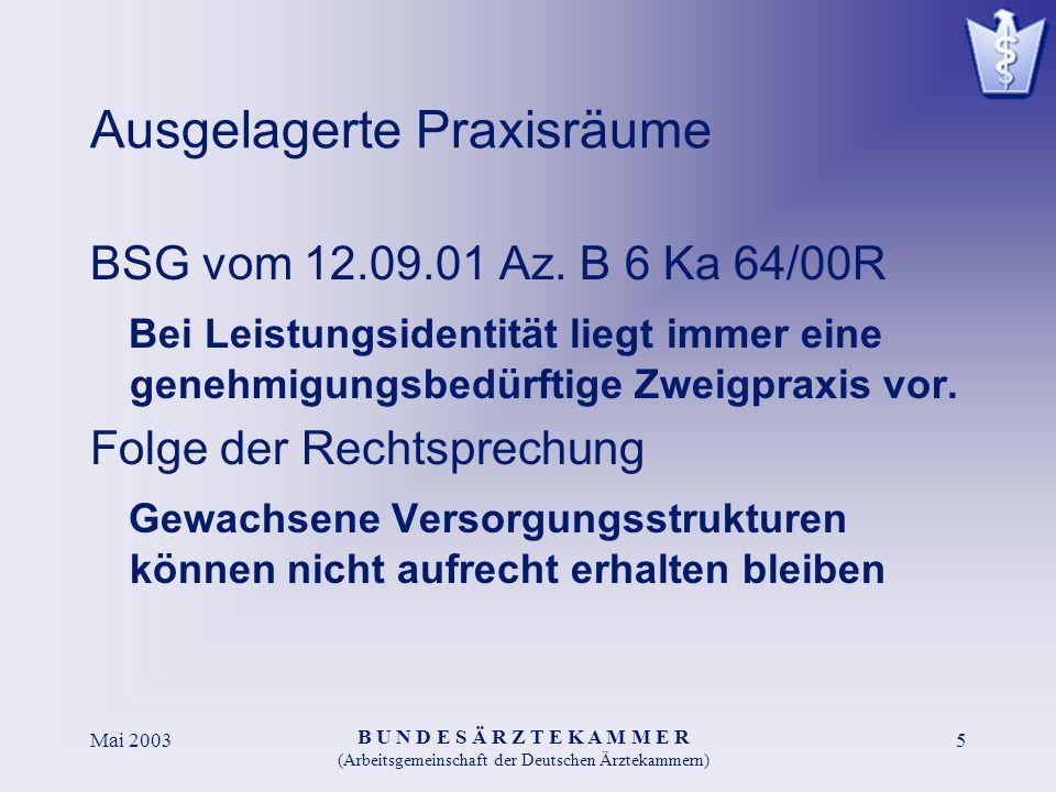 B U N D E S Ä R Z T E K A M M E R (Arbeitsgemeinschaft der Deutschen Ärztekammern) Mai 20035 Ausgelagerte Praxisräume BSG vom 12.09.01 Az. B 6 Ka 64/0