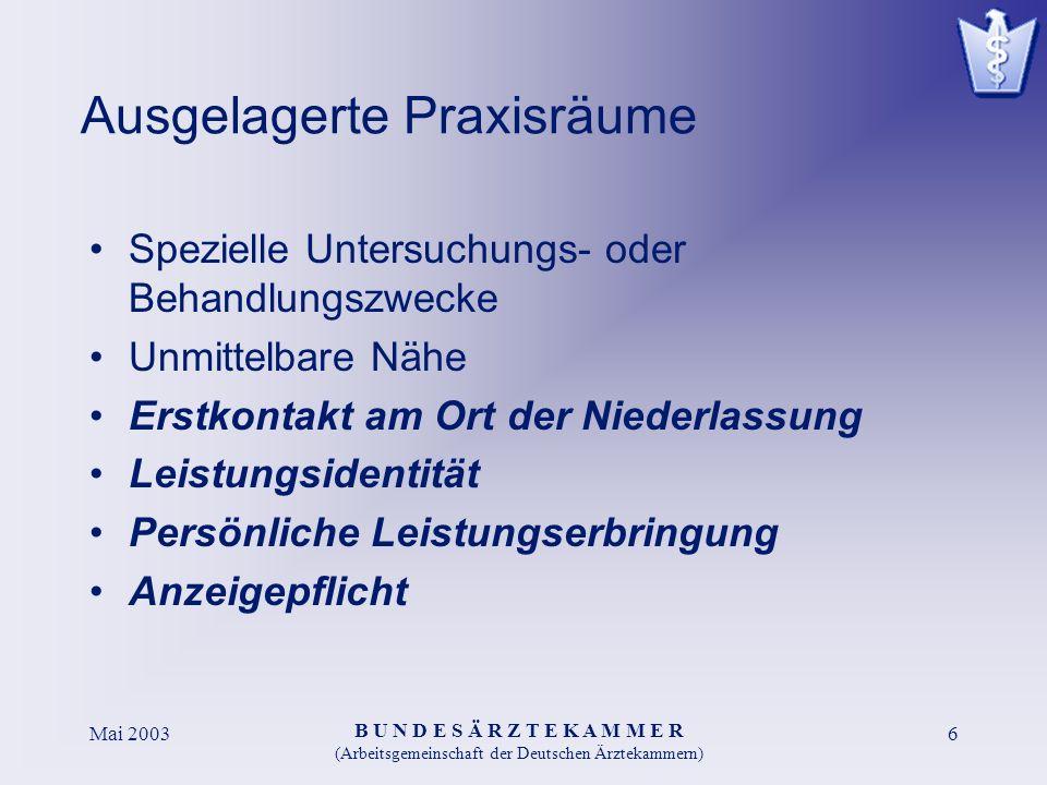 B U N D E S Ä R Z T E K A M M E R (Arbeitsgemeinschaft der Deutschen Ärztekammern) Mai 20036 Ausgelagerte Praxisräume Spezielle Untersuchungs- oder Be