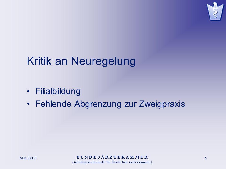 B U N D E S Ä R Z T E K A M M E R (Arbeitsgemeinschaft der Deutschen Ärztekammern) Mai 20038 Kritik an Neuregelung Filialbildung Fehlende Abgrenzung zur Zweigpraxis