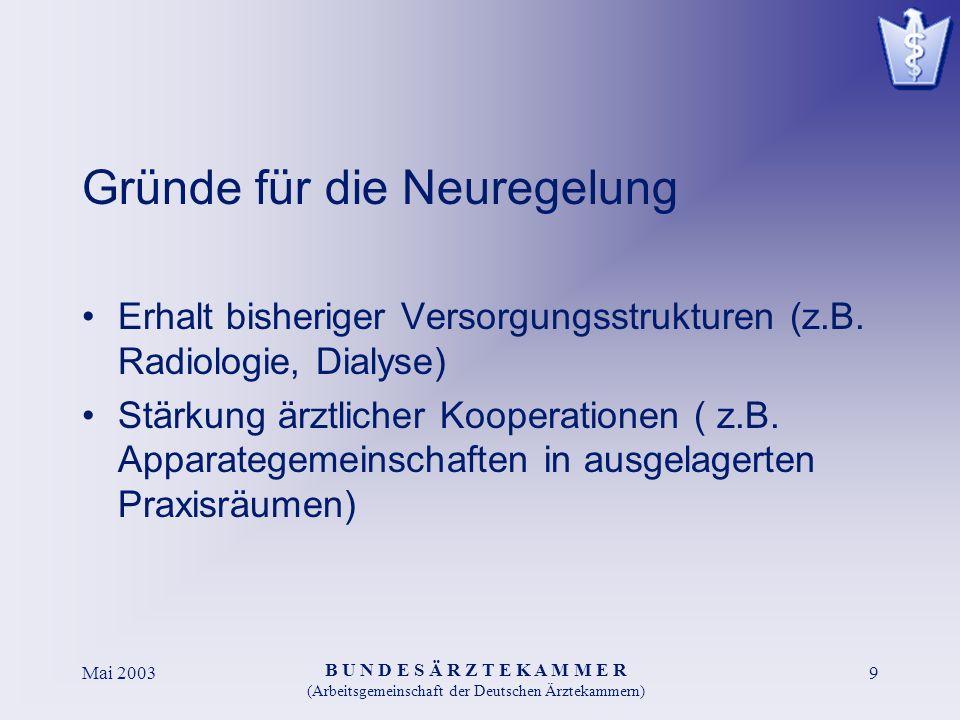B U N D E S Ä R Z T E K A M M E R (Arbeitsgemeinschaft der Deutschen Ärztekammern) Mai 20039 Gründe für die Neuregelung Erhalt bisheriger Versorgungsstrukturen (z.B.