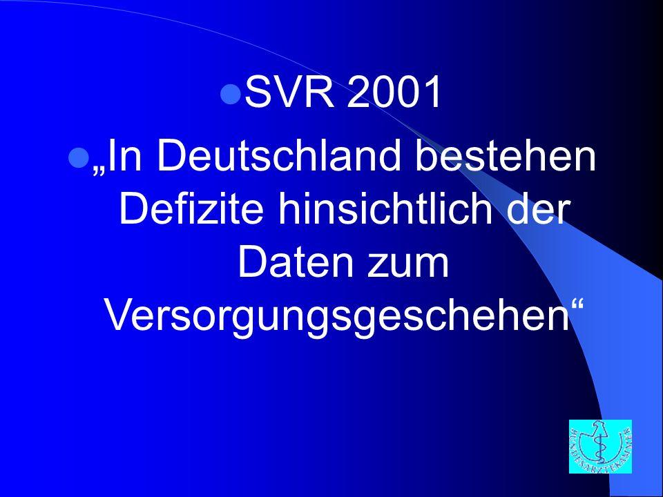SVR 2001 In Deutschland bestehen Defizite hinsichtlich der Daten zum Versorgungsgeschehen