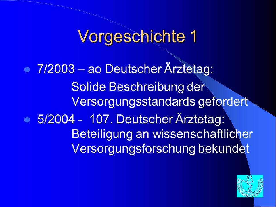 Vorgeschichte 1 7/2003 – ao Deutscher Ärztetag: Solide Beschreibung der Versorgungsstandards gefordert 5/2004 - 107. Deutscher Ärztetag: Beteiligung a