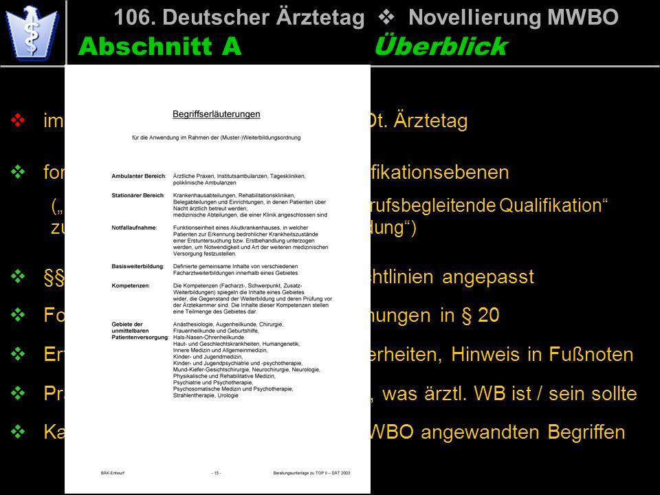 Abschnitt A 106. Deutscher Ärztetag Novellierung MWBO im Wesentlichen der Text vom 104. Dt. Ärztetag formale Anpassung an nur drei Qualifikationsebene
