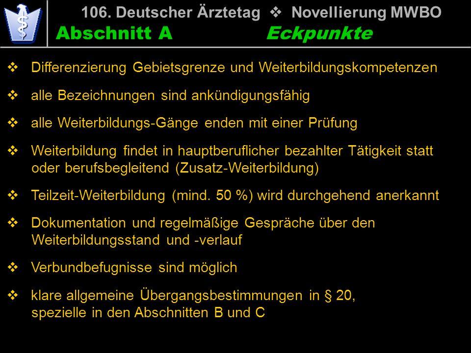 Abschnitt A 106. Deutscher Ärztetag Novellierung MWBO Differenzierung Gebietsgrenze und Weiterbildungskompetenzen alle Bezeichnungen sind ankündigungs