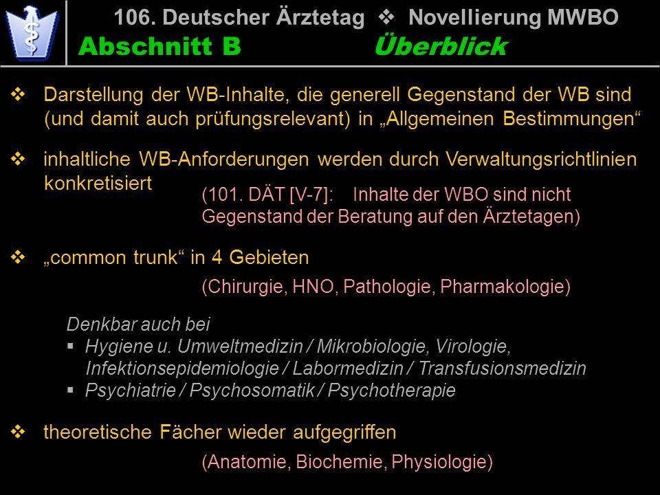 Abschnitt B 106. Deutscher Ärztetag Novellierung MWBO Darstellung der WB-Inhalte, die generell Gegenstand der WB sind mwi(und damit auch prüfungsrelev