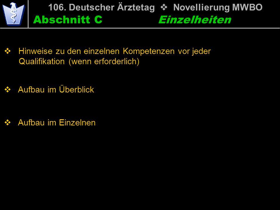 Abschnitt C 106. Deutscher Ärztetag Novellierung MWBO Einzelheiten Hinweise zu den einzelnen Kompetenzen vor jeder mwiQualifikation (wenn erforderlich