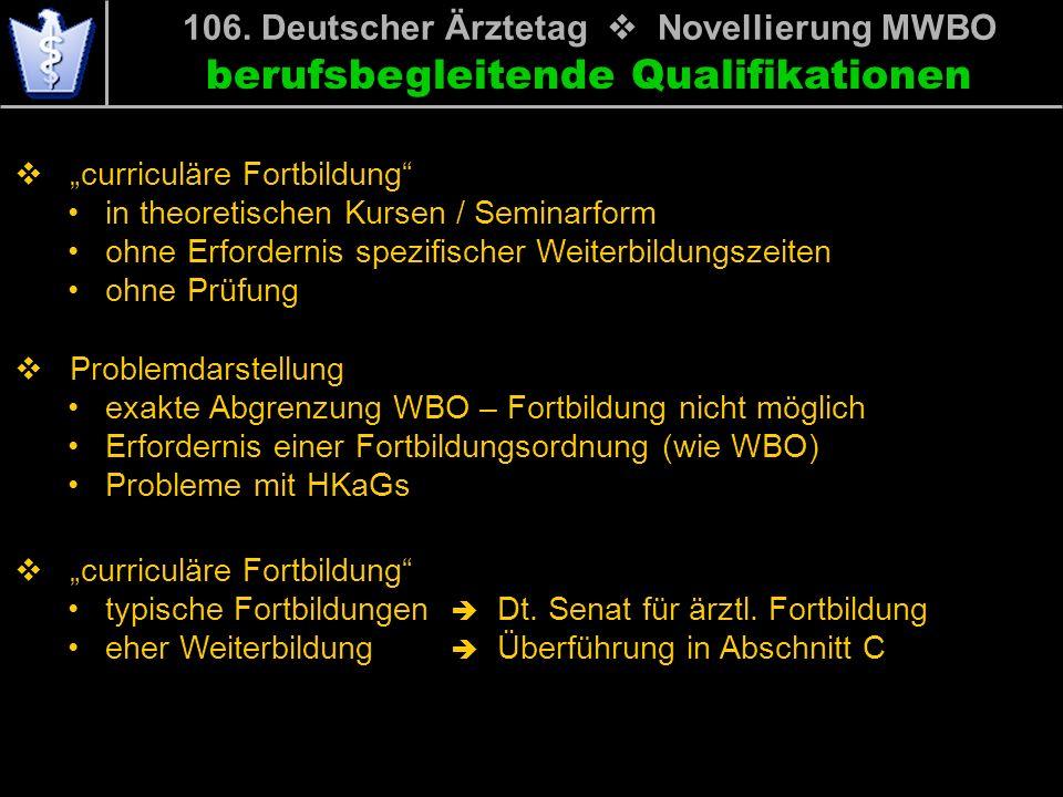 106. Deutscher Ärztetag Novellierung MWBO curriculäre Fortbildung in theoretischen Kursen / Seminarform ohne Erfordernis spezifischer Weiterbildungsze