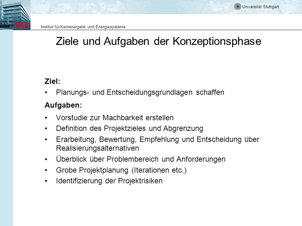 Universität Stuttgart Institut für Kernenergetik und Energiesysteme Ziele und Aufgaben der Konzeptionsphase Ziel: Planungs- und Entscheidungsgrundlage