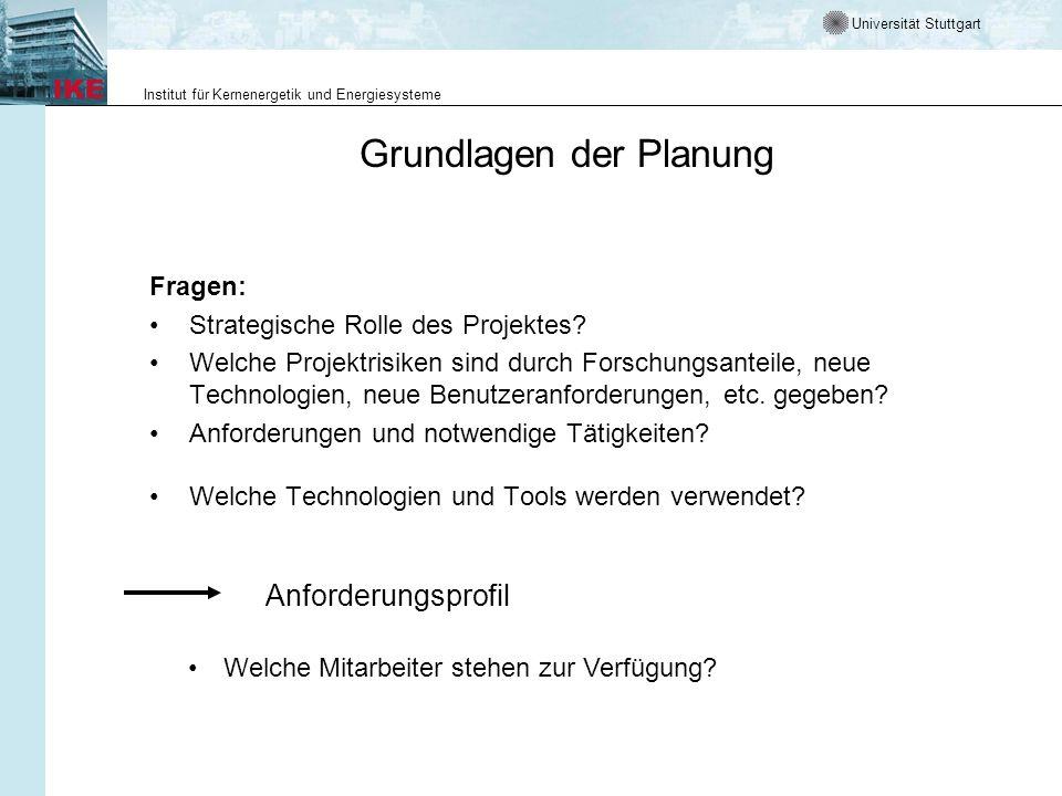 Universität Stuttgart Institut für Kernenergetik und Energiesysteme Grundlagen der Planung Fragen: Strategische Rolle des Projektes? Welche Projektris