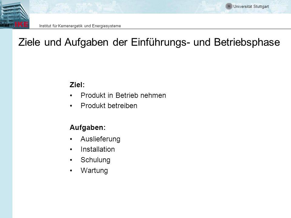 Universität Stuttgart Institut für Kernenergetik und Energiesysteme Ziele und Aufgaben der Einführungs- und Betriebsphase Ziel: Produkt in Betrieb neh