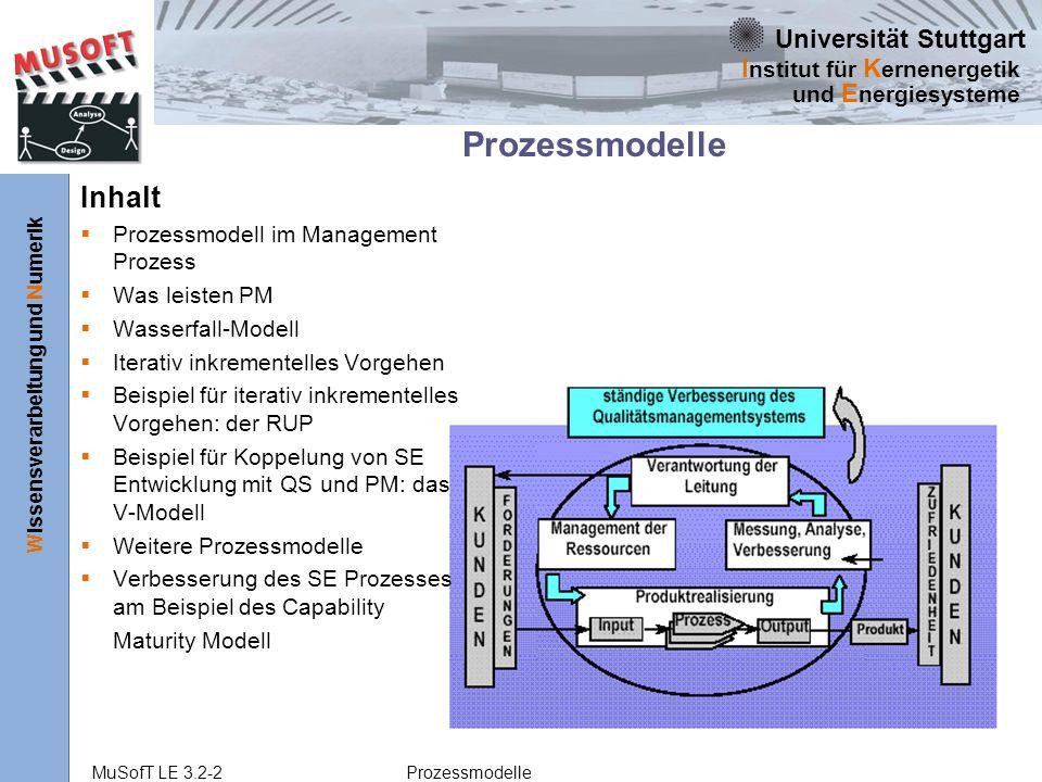 Universität Stuttgart Wissensverarbeitung und Numerik I nstitut für K ernenergetik und E nergiesysteme MuSofT LE 3.2-2 Prozessmodelle Prozessmodelle Inhalt Prozessmodell im Management Prozess Was leisten PM Wasserfall-Modell Iterativ inkrementelles Vorgehen Beispiel für iterativ inkrementelles Vorgehen: der RUP Beispiel für Koppelung von SE Entwicklung mit QS und PM: das V-Modell Weitere Prozessmodelle Verbesserung des SE Prozesses am Beispiel des Capability Maturity Modell