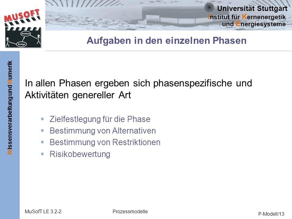 Universität Stuttgart Wissensverarbeitung und Numerik I nstitut für K ernenergetik und E nergiesysteme MuSofT LE 3.2-2Prozessmodelle P-Modell/13 Aufgaben in den einzelnen Phasen In allen Phasen ergeben sich phasenspezifische und Aktivitäten genereller Art Zielfestlegung für die Phase Bestimmung von Alternativen Bestimmung von Restriktionen Risikobewertung