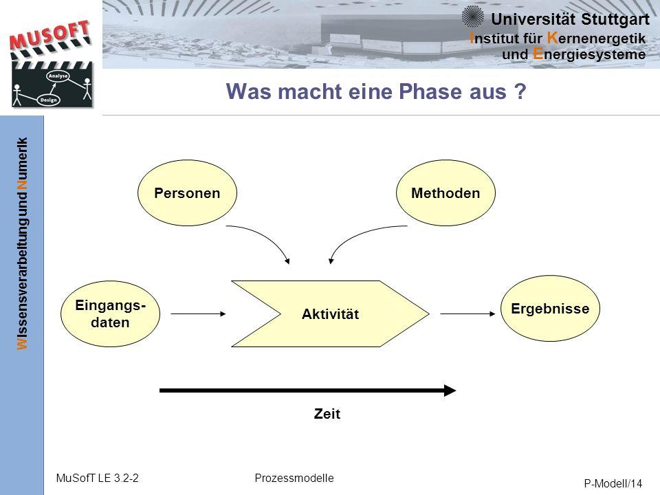 Universität Stuttgart Wissensverarbeitung und Numerik I nstitut für K ernenergetik und E nergiesysteme MuSofT LE 3.2-2Prozessmodelle P-Modell/14 Was macht eine Phase aus .