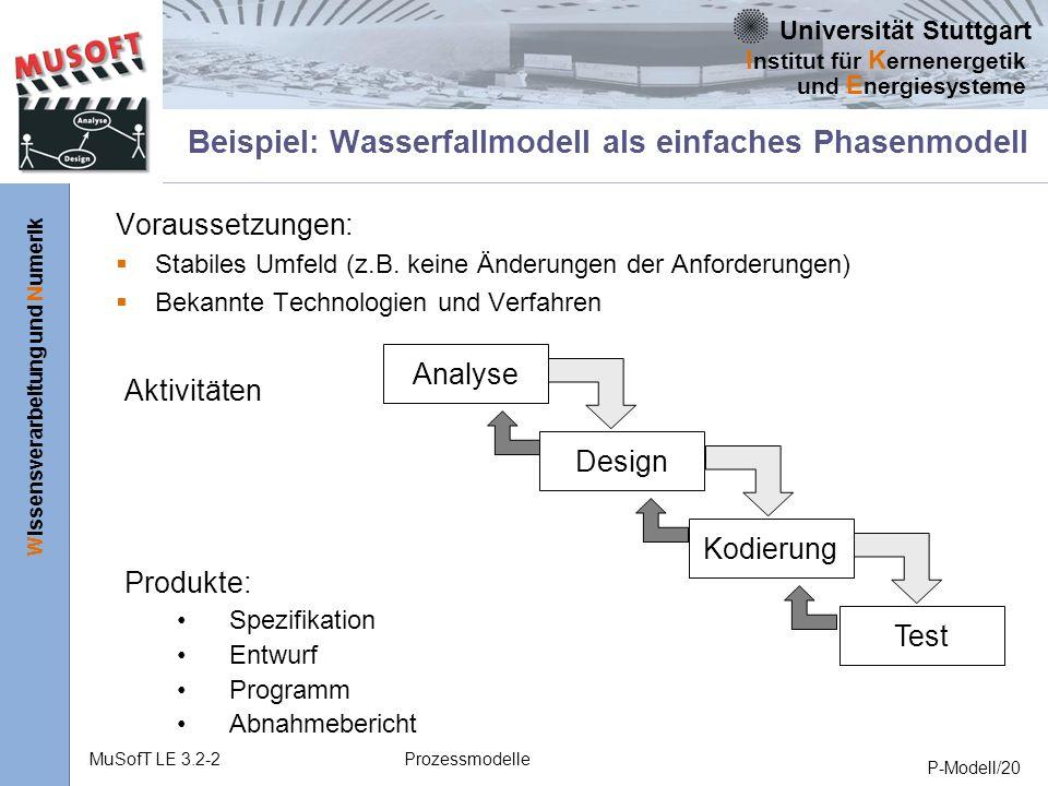 Universität Stuttgart Wissensverarbeitung und Numerik I nstitut für K ernenergetik und E nergiesysteme MuSofT LE 3.2-2Prozessmodelle P-Modell/20 Beispiel: Wasserfallmodell als einfaches Phasenmodell Voraussetzungen: Stabiles Umfeld (z.B.