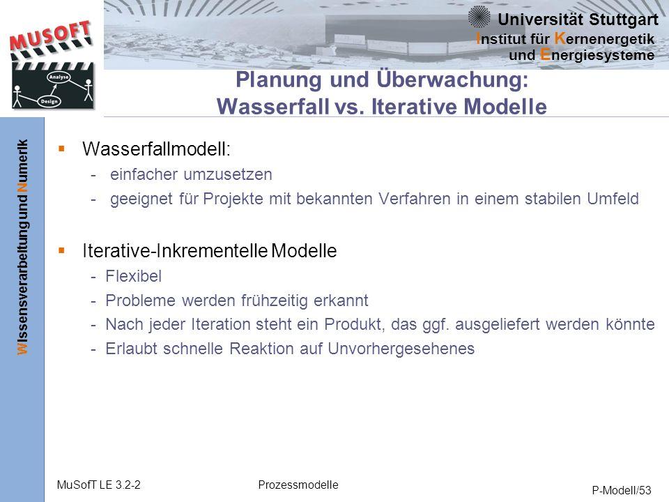 Universität Stuttgart Wissensverarbeitung und Numerik I nstitut für K ernenergetik und E nergiesysteme MuSofT LE 3.2-2Prozessmodelle P-Modell/53 Planung und Überwachung: Wasserfall vs.