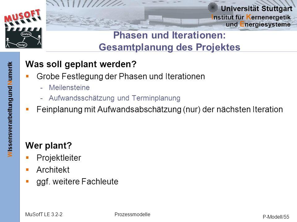 Universität Stuttgart Wissensverarbeitung und Numerik I nstitut für K ernenergetik und E nergiesysteme MuSofT LE 3.2-2Prozessmodelle P-Modell/55 Phasen und Iterationen: Gesamtplanung des Projektes Was soll geplant werden.