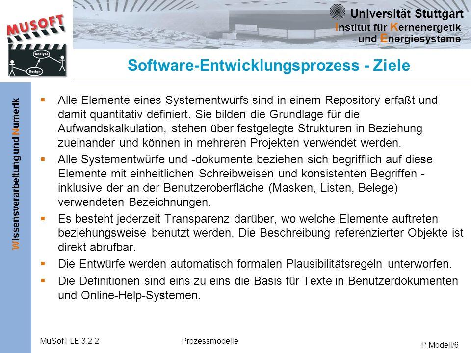 Universität Stuttgart Wissensverarbeitung und Numerik I nstitut für K ernenergetik und E nergiesysteme MuSofT LE 3.2-2Prozessmodelle P-Modell/6 Software-Entwicklungsprozess - Ziele Alle Elemente eines Systementwurfs sind in einem Repository erfaßt und damit quantitativ definiert.