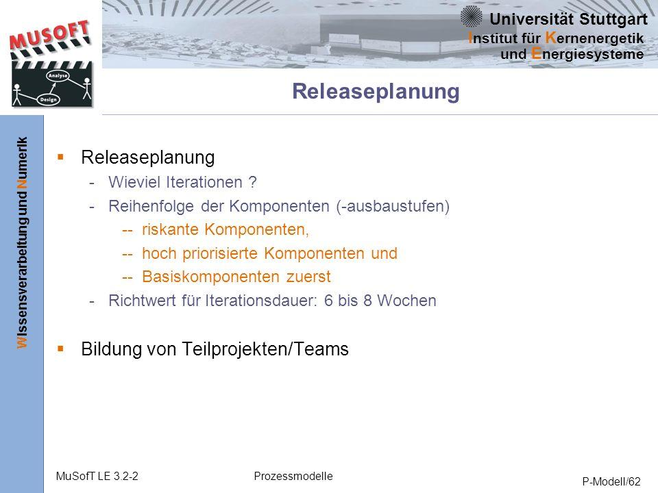 Universität Stuttgart Wissensverarbeitung und Numerik I nstitut für K ernenergetik und E nergiesysteme MuSofT LE 3.2-2Prozessmodelle P-Modell/62 Releaseplanung - Wieviel Iterationen .