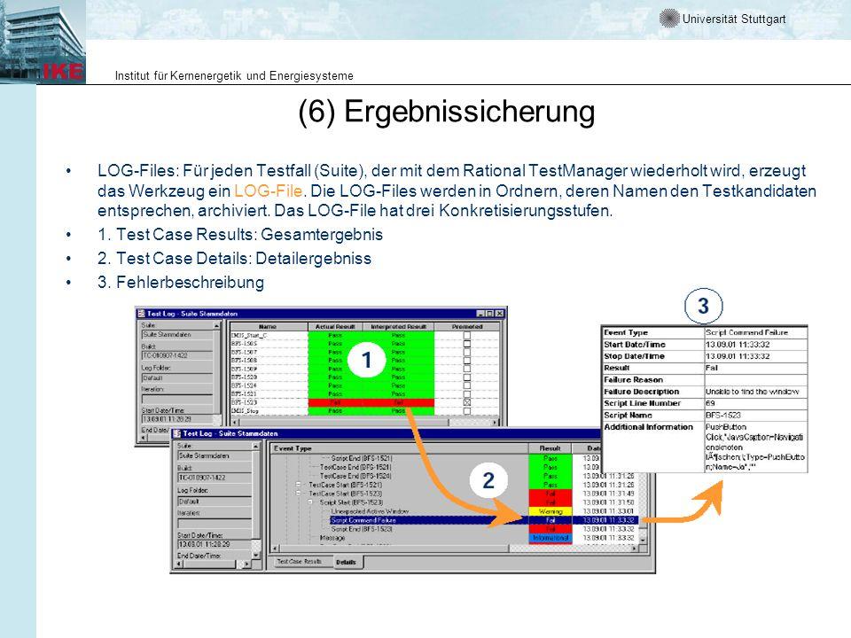 Universität Stuttgart Institut für Kernenergetik und Energiesysteme (6) Ergebnissicherung LOG-Files: Für jeden Testfall (Suite), der mit dem Rational