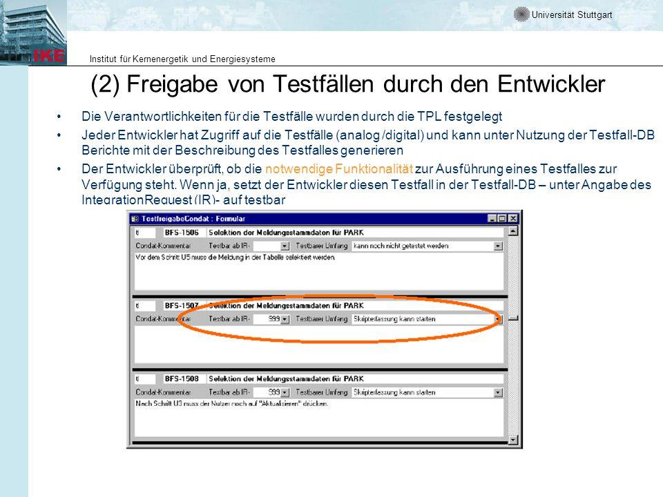 Universität Stuttgart Institut für Kernenergetik und Energiesysteme (2) Freigabe von Testfällen durch den Entwickler Die Verantwortlichkeiten für die
