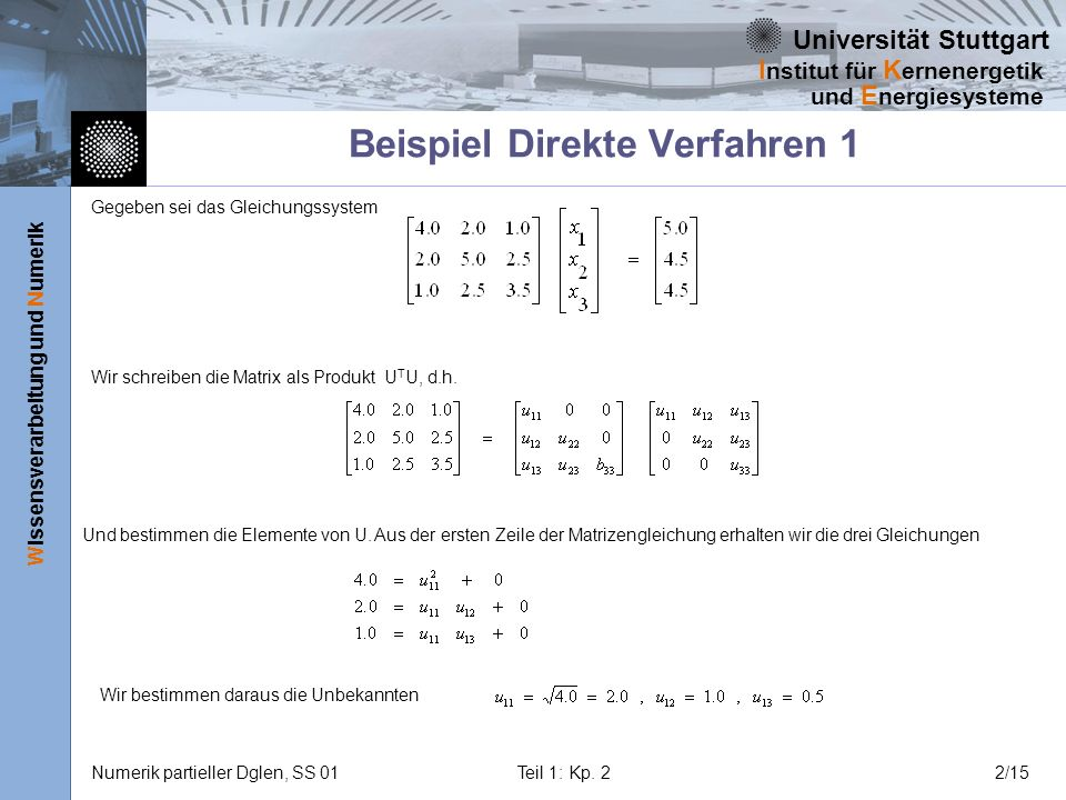 Universität Stuttgart Wissensverarbeitung und Numerik I nstitut für K ernenergetik und E nergiesysteme Numerik partieller Dglen, SS 01Teil 1: Kp. 22/1