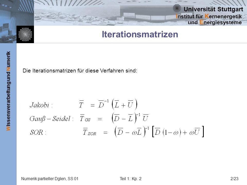 Universität Stuttgart Wissensverarbeitung und Numerik I nstitut für K ernenergetik und E nergiesysteme Numerik partieller Dglen, SS 01Teil 1: Kp. 22/2