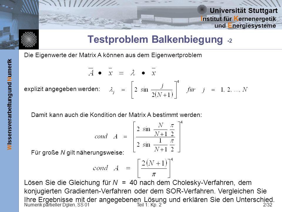Universität Stuttgart Wissensverarbeitung und Numerik I nstitut für K ernenergetik und E nergiesysteme Numerik partieller Dglen, SS 01Teil 1: Kp. 22/3