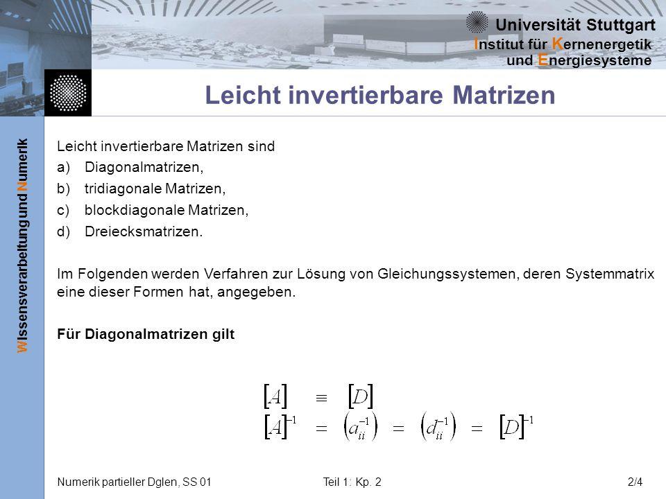 Universität Stuttgart Wissensverarbeitung und Numerik I nstitut für K ernenergetik und E nergiesysteme Numerik partieller Dglen, SS 01Teil 1: Kp. 22/4
