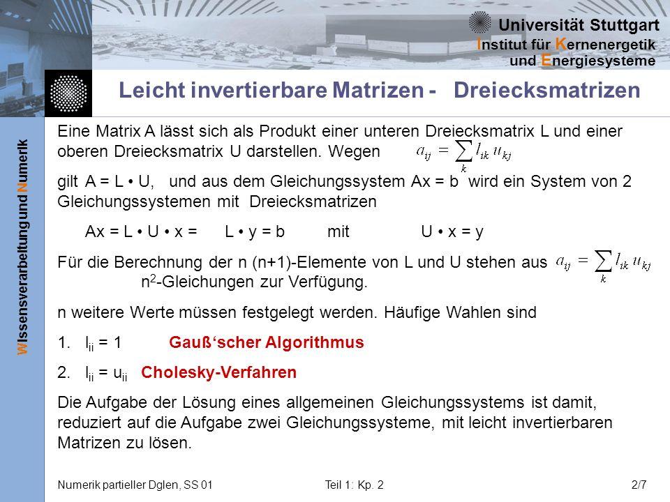Universität Stuttgart Wissensverarbeitung und Numerik I nstitut für K ernenergetik und E nergiesysteme Numerik partieller Dglen, SS 01Teil 1: Kp. 22/7