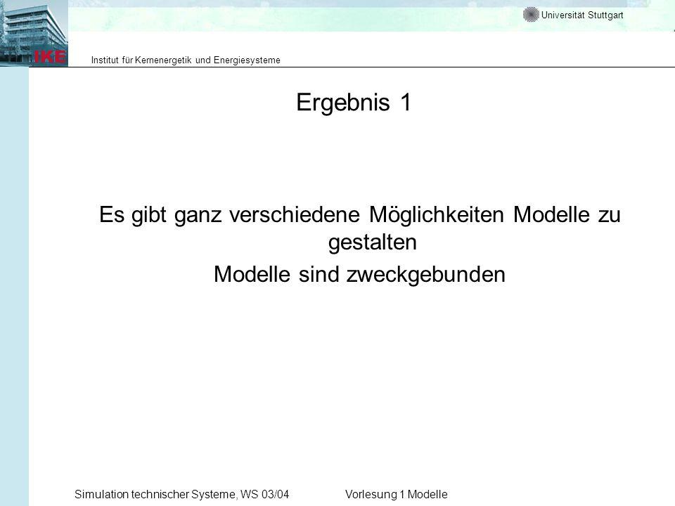 Universität Stuttgart Institut für Kernenergetik und Energiesysteme Simulation technischer Systeme, WS 03/04Vorlesung 1 Modelle Ergebnis 1 Es gibt gan